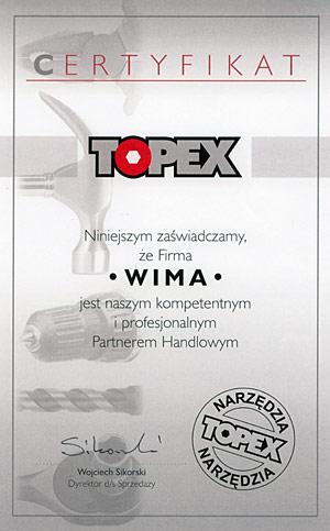 Certyfikat Topex dla firmy WIMA